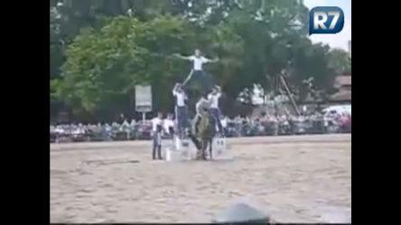 Veja o que cavalo faz com um portal humano durante apresentação ...