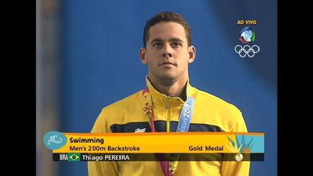 Thiago Pereira sobe ao topo mais alto do pódio pelos 200 m nado ...