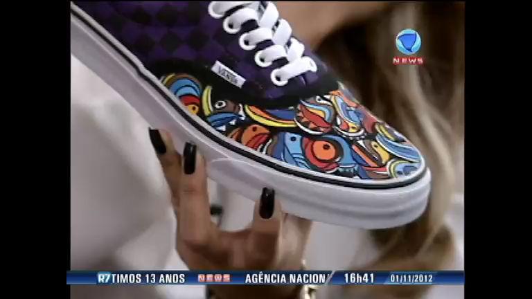 Artista plástico transfere arte do grafite para tênis e roupas - Record ...