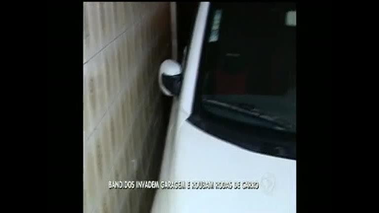 Bandidos invadem garagem e roubam rodas de carro - Rede Record