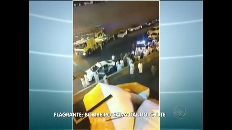 Resgate inusitado: chute de bombeiro salva vida de jovem ...