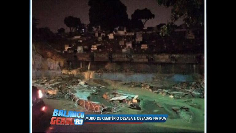 Chuva forte derruba muro de cemitério na Baixada Fluminense - Rio ...