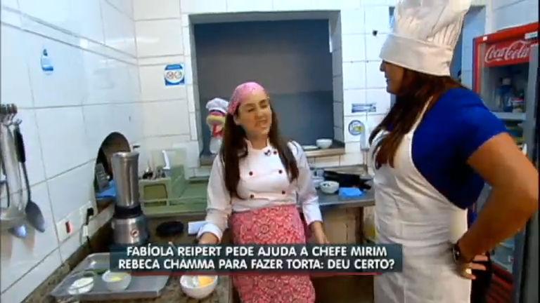 Chef mirim, Rebeca Chamma, ensina Fabíola Reipert a fazer uma ...
