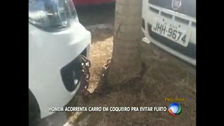 Dono prende carro com corrente em árvore no DF