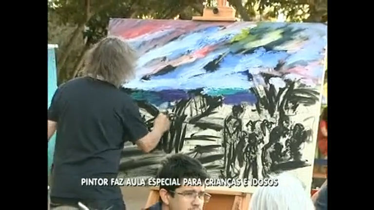 Idosos e crianças têm aulas de pintura com Carlos Bracher