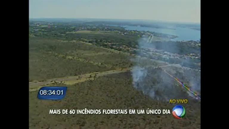 Mais de 60 incêndios são registrados em um dia no DF