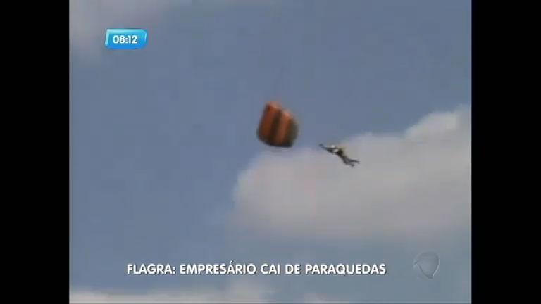 Flagra: empresário sofre fratura exposta ao cair de paraquedas em ...
