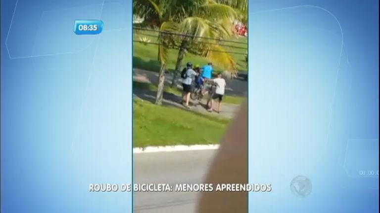 Flagrante: menores roubam bicicleta no Dia dos Pais em Praia Grande (SP)