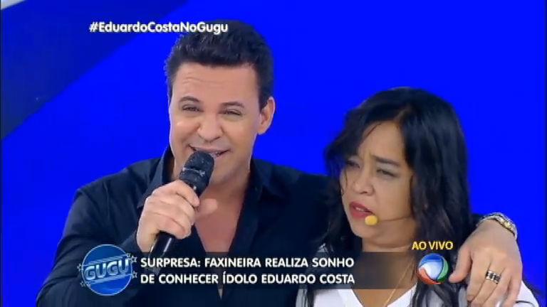 Faxineira louca por Eduardo Costa realiza o sonho de conhecer o ...