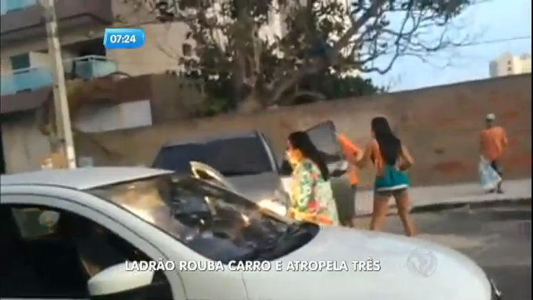 Ladrão rouba carro e atropela três pessoas em Fortaleza
