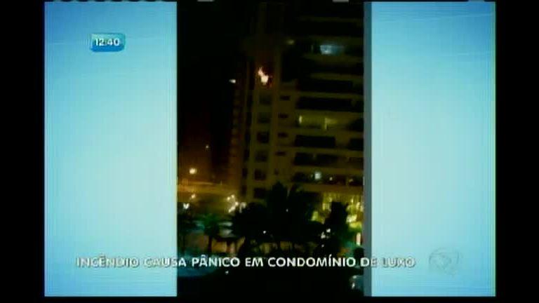 Incêndio causa pânico em condomínio de luxo