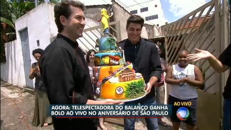 Balanço Geral SP entrega bolo ao vivo a telespectadora no ...