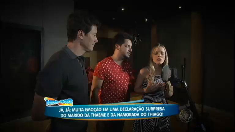 Exclusivo: Thaeme e Thiago gravam música inédita com Rodrigo Faro