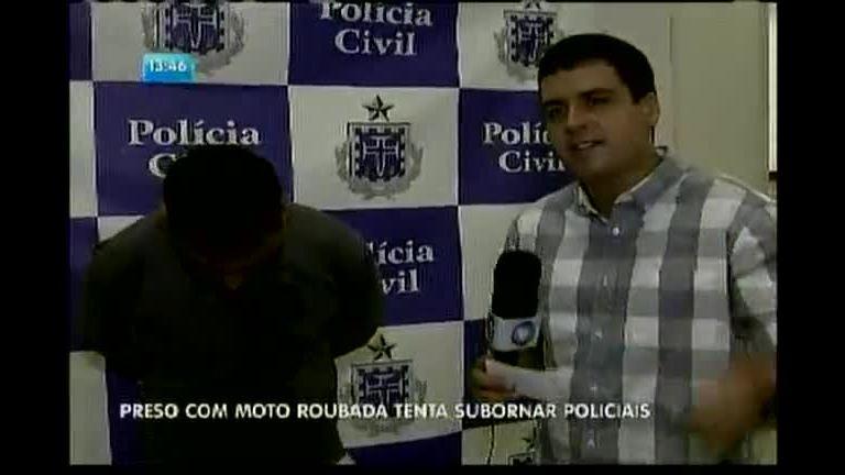 Preso com moto roubada tenta subornar policiais - Bahia - R7 ...