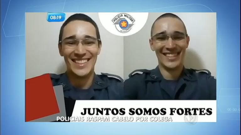 PMs do interior paulista raspam a cabeça em solidariedade a colega com câncer