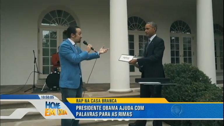 Obama ajuda a compor rap no jardim da Casa Branca