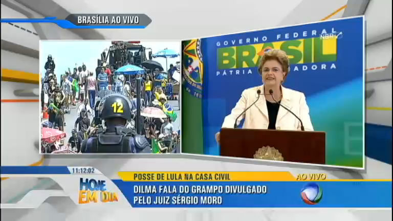 Na posse de Lula, Dilma diz que divulgação de grampo fere a democracia