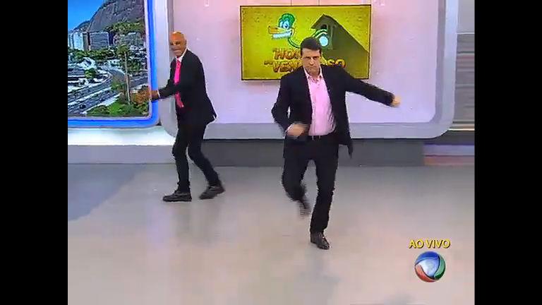 Amin Khader e Gustavo Marques dançam Thriller no Balanço Geral RJ