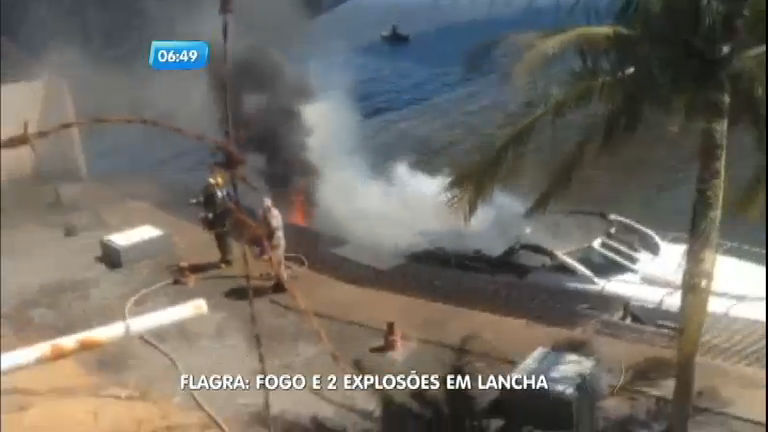 Lancha pega fogo enquanto era abastecida em Guarapari (ES ...