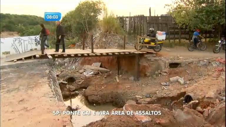 Obra de ponte se torna área de assaltos na divisa entre Santo André e São Paulo