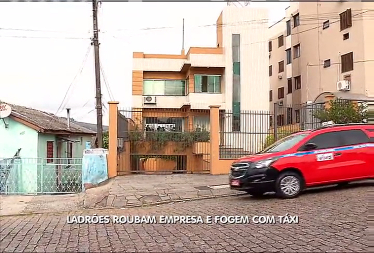 Ladrões roubam empresa e fogem com táxi