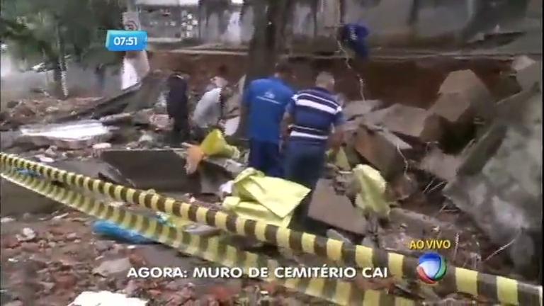 Muro do cemitério Araçá cai durante temporal em São Paulo ...