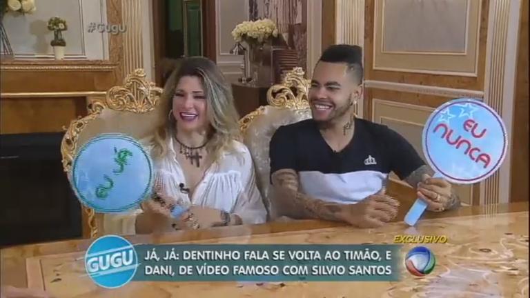Dentinho e Daniele Souza revelam intimidade no jogo Eu Nunca
