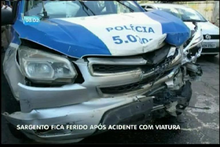 Sargento fica ferido após acidente com viatura