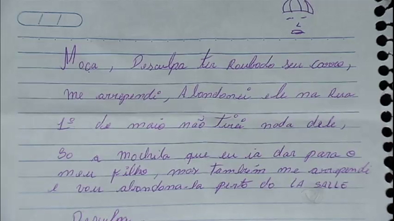 Arrependido de roubo, ladrão escreve bilhete para vítima pedindo ...