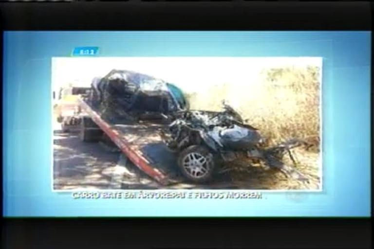Pai e dois filhos morrem em acidente na BR-356