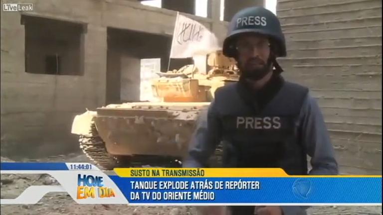 Tanque explode atrás de repórter de TV durante transmissão ...