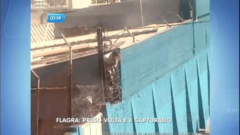 Flagra: detento pula muro de presídio, mas é recapturado pela polícia