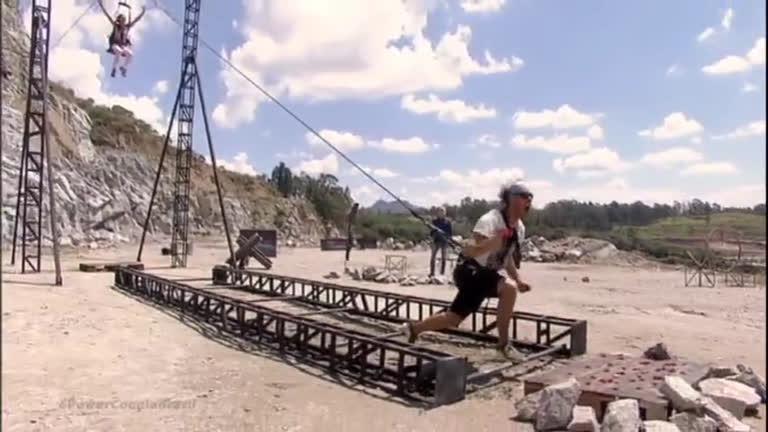 Diego e Lorena se dão bem em desafio que exigia força física dos homens