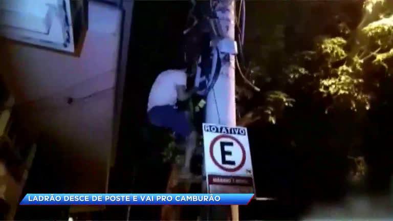Polícia flagra ladão em cima de poste roubando fios…