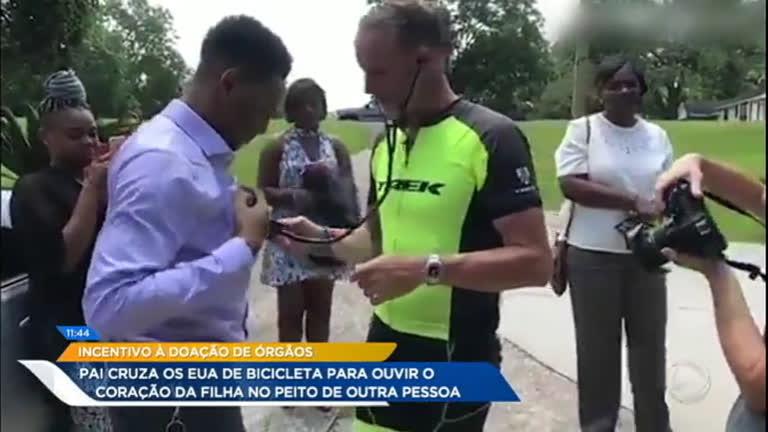Pai cruza país de bicicleta e conhece homem que recebeu…