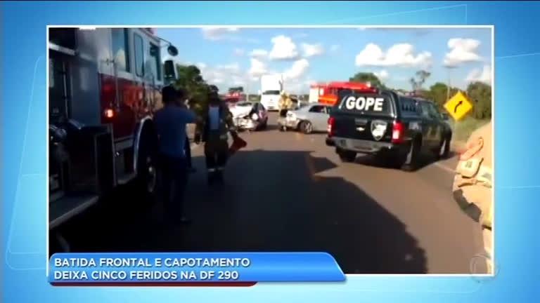 Acidente em rodovia do DF deixa cinco feridos